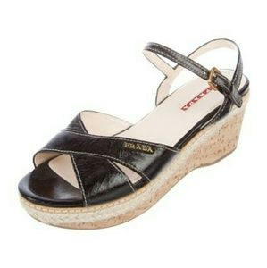 Prada Logo Leather Wedge Sandals